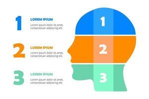 infographie de tête humaine colorée vecteur