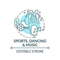 icône de concept bleu sport, danse et musique vecteur