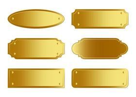 collection de plaque signalétique dorée vecteur