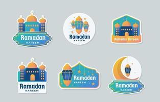 collection de badges ramadan avec une combinaison de couleurs jaune et bleu vecteur