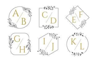 monogramme de mariage avec style de conception de contour vecteur