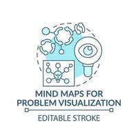 cartes mentales pour la visualisation des problèmes icône concept bleu vecteur