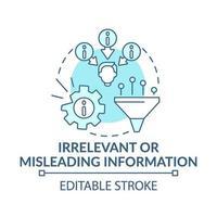 Icône de concept bleu informations non pertinentes ou trompeuses vecteur
