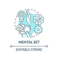 icône de concept bleu set mental vecteur