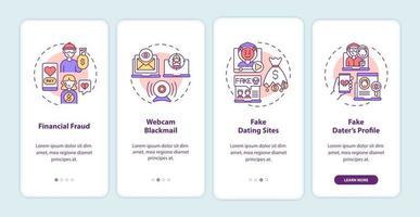 Écran de page de l'application mobile d'intégration de site Web sur les risques de rencontres en ligne avec des concepts. vecteur