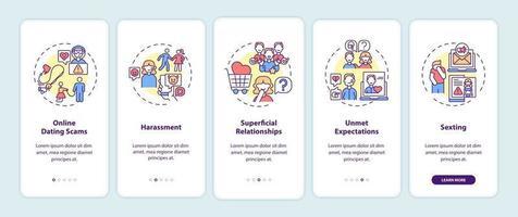 Écran de la page de l'application mobile d'intégration des escroqueries de rencontres en ligne avec des concepts. vecteur