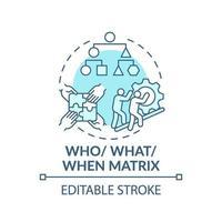 qui, quoi, quand icône de concept bleu matrice vecteur