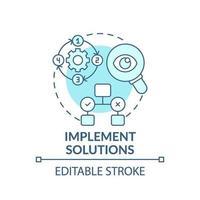 mettre en œuvre des solutions icône concept bleu vecteur