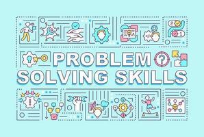Bannière de concepts de mot compétences en résolution de problèmes vecteur