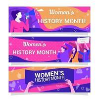 ensemble de conception de bannière représentant le mois de l'histoire des femmes vecteur