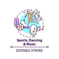 icône de concept de sport, de danse et de musique vecteur