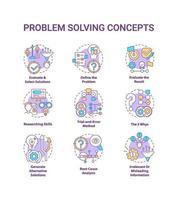 jeu d & # 39; icônes de concept de résolution de problème vecteur