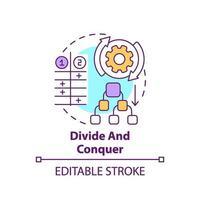 diviser et conquérir l'icône du concept vecteur
