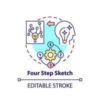 icône de concept de croquis en quatre étapes vecteur