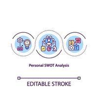 icône de concept d & # 39; analyse swot personnelle vecteur