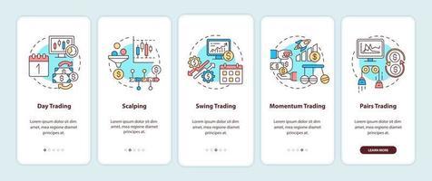 Écran de la page de l'application mobile d'intégration des styles de négociation d'actions avec des concepts vecteur