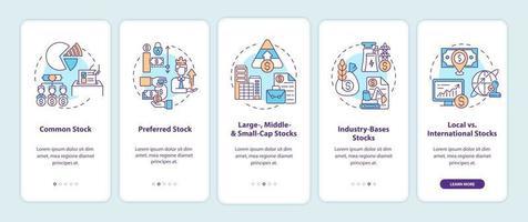 écran de la page de l'application mobile d'intégration des types de stocks avec des concepts vecteur