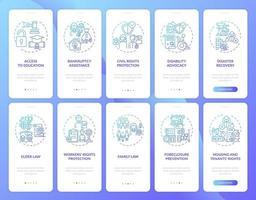 Écran de la page de l'application mobile d'intégration des services juridiques avec concepts vecteur
