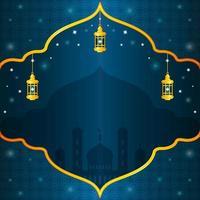 élégant fond bleu isra miraj avec lanterne vecteur