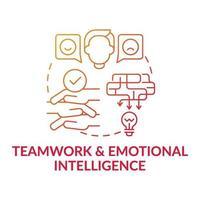 travail d'équipe et intelligence émotionnelle icône de concept dégradé rouge vecteur