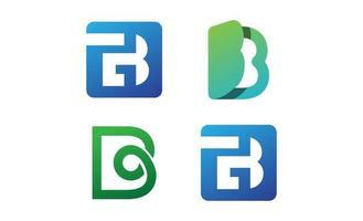 modèle de conception de logo initial b monogramme défini vecteur