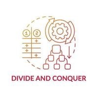 diviser et conquérir l'icône de concept de dégradé rouge vecteur