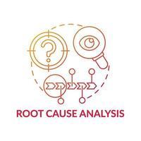 icône de concept de dégradé rouge analyse des causes profondes vecteur