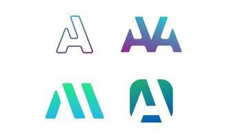 lettre un logo défini vecteur de conception dinspiration créative