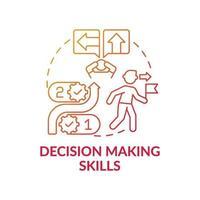 icône de concept de dégradé rouge compétences de prise de décision vecteur