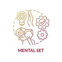 icône de concept de dégradé rouge set mental vecteur