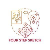 icône de concept de dégradé rouge esquisse en quatre étapes vecteur