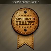 cuir authentique label de qualité vecteur
