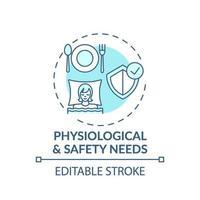icône de concept turquoise besoins physiologiques et de sécurité vecteur