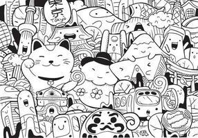 tokyo doodle avec illustration vectorielle vecteur