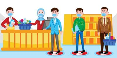 la distanciation sociale de caissier au supermarché vecteur