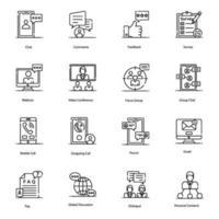 icônes modernes, de discussion et de communication vecteur