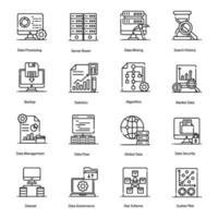 Big Data et icônes de traitement de données vecteur