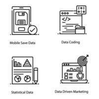 réseau de données et icônes de big data vecteur