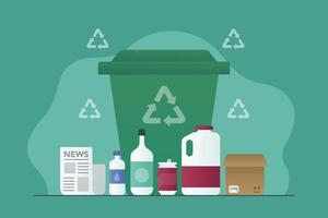 contenu du bac de recyclage vecteur