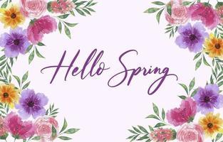 fond de printemps aquarelle avec des fleurs épanouies vecteur