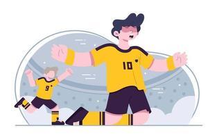 joueur de football célébrant le but vecteur