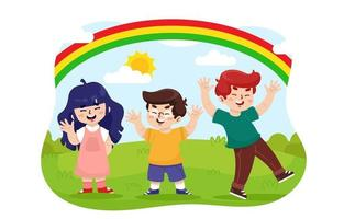 enfants jouant au parc vecteur