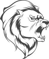 Silhouette de lion rugissant, pochoir animal en colère, dessin vectoriel clipart