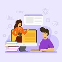 concept d & # 39; éducation scolaire d & # 39; étude en ligne vecteur