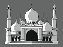 Silhouette de la mosquée musulmane islamique, dessin vectoriel de pochoir ramadan