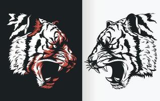 Silhouette de tête de tigre rugissant, dessin vectoriel de pochoir de vue latérale