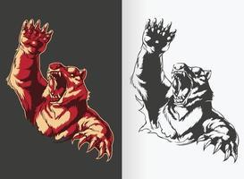 Silhouette d'ours en colère attaquant et rugissant, dessin vectoriel au pochoir