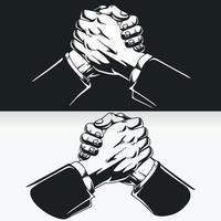 silhouette de travail d'équipe succès soul poignée de main, dessin vectoriel de pochoir