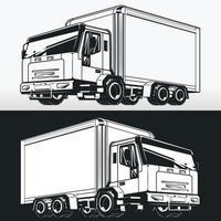 Silhouette de camion de livraison de boîte de chargement, dessin vectoriel de pochoir
