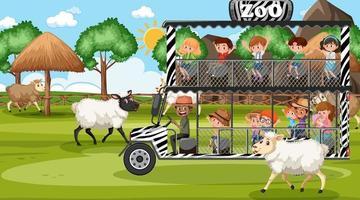 safari à la scène de jour avec des enfants regardant un groupe de moutons vecteur